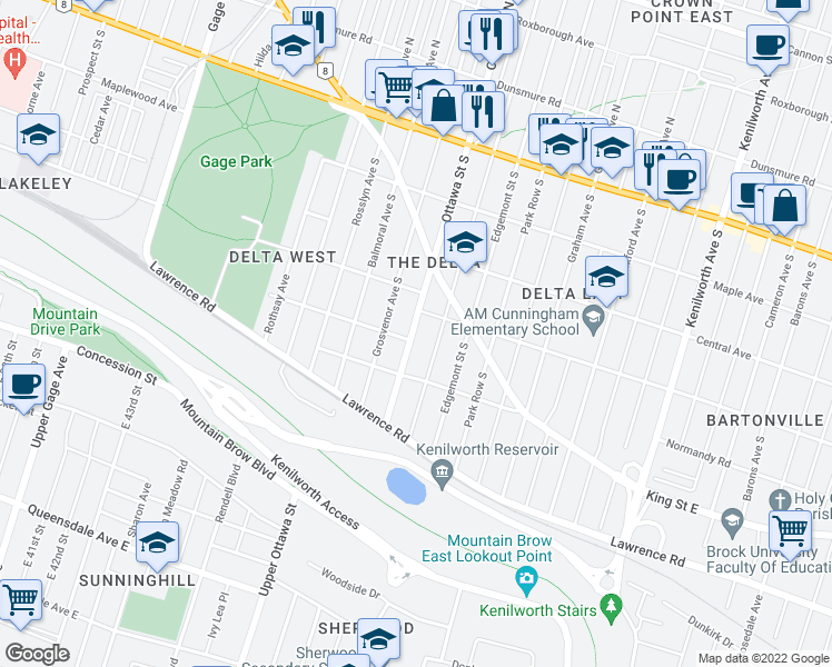 map of restaurants, bars, coffee shops, grocery stores, and more near 199 Ottawa Street South in Hamilton