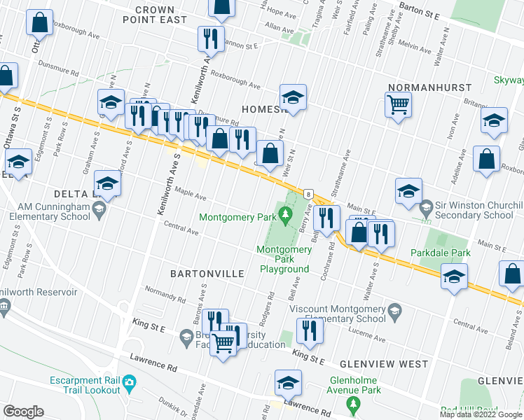 map of restaurants, bars, coffee shops, grocery stores, and more near 25 Weir Street South in Hamilton