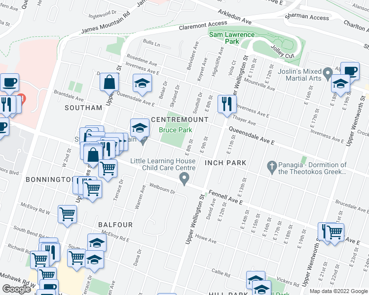 map of restaurants, bars, coffee shops, grocery stores, and more near 183 Brucedale Avenue East in Hamilton