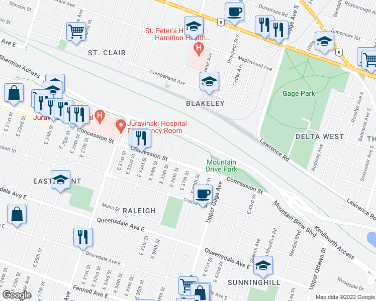 map of restaurants, bars, coffee shops, grocery stores, and more near 1 East 37th Street in Hamilton