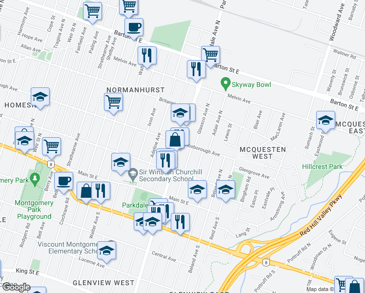 map of restaurants, bars, coffee shops, grocery stores, and more near 120 Parkdale Avenue North in Hamilton