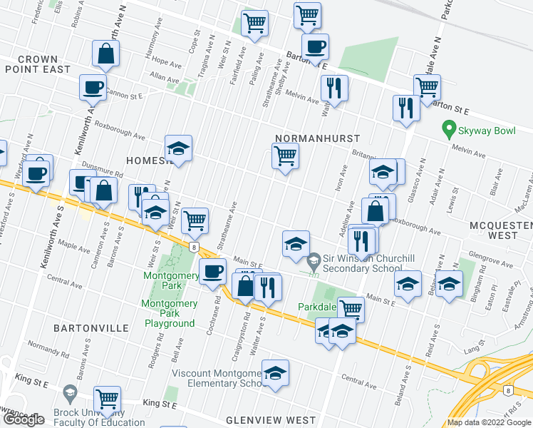 map of restaurants, bars, coffee shops, grocery stores, and more near 101 Tolton Avenue in Hamilton