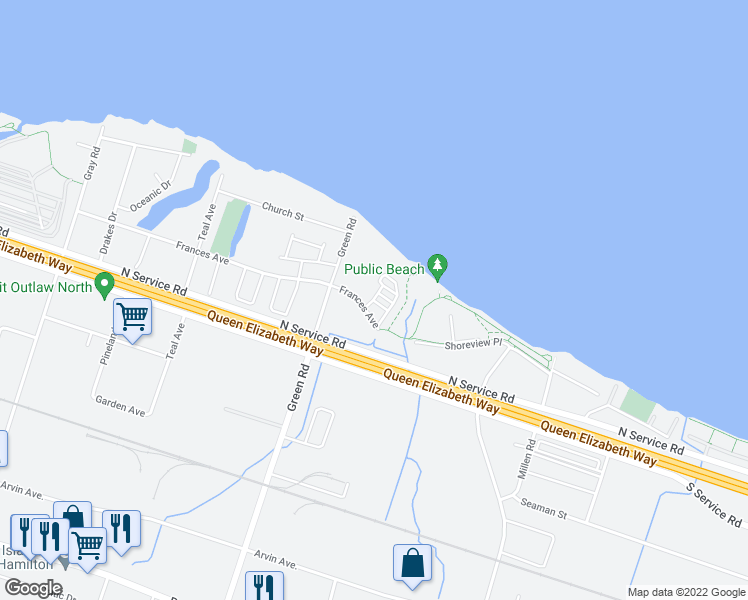 map of restaurants, bars, coffee shops, grocery stores, and more near 301 Frances Ave Stoney Creek, ON L8E 3W6 Frances Avenue in Hamilton