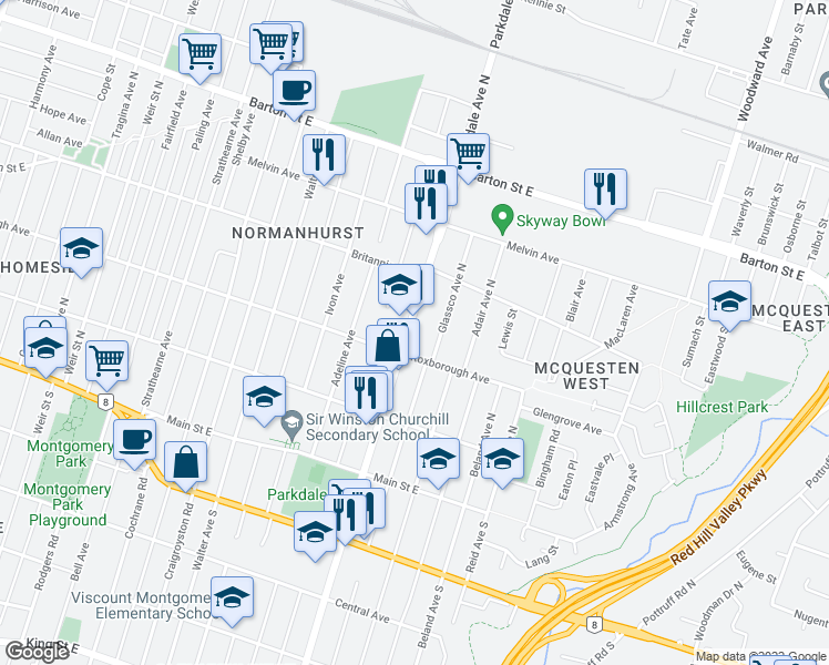 map of restaurants, bars, coffee shops, grocery stores, and more near 148 Parkdale Avenue North in Hamilton