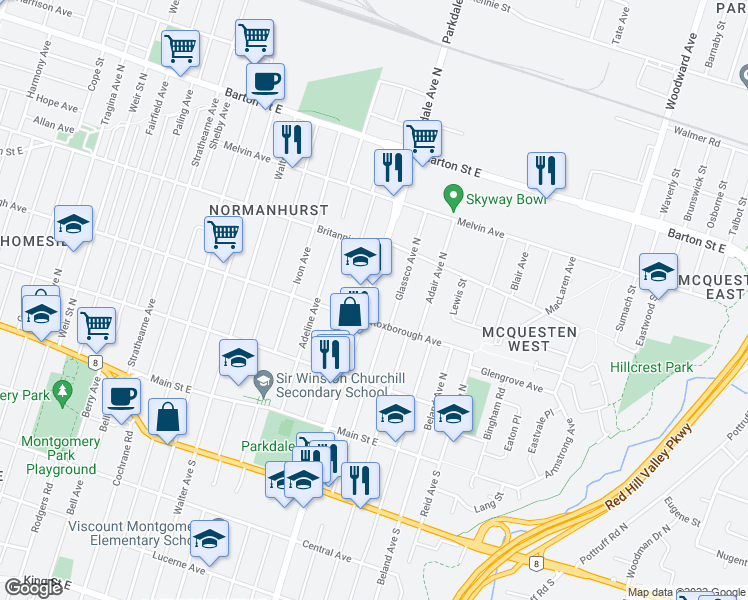 map of restaurants, bars, coffee shops, grocery stores, and more near 147 Glassco Avenue North in Hamilton