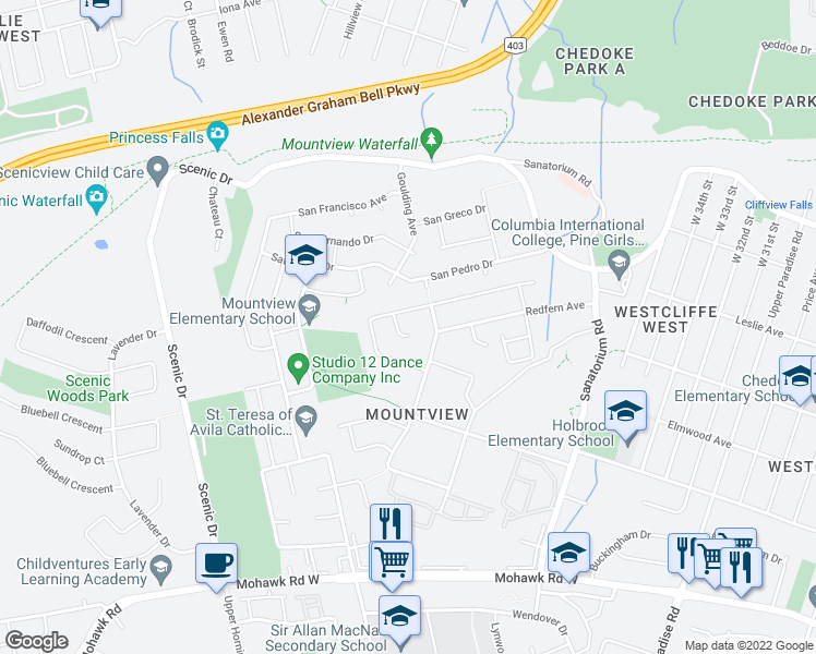 map of restaurants, bars, coffee shops, grocery stores, and more near 26 Cordingley Court in Hamilton
