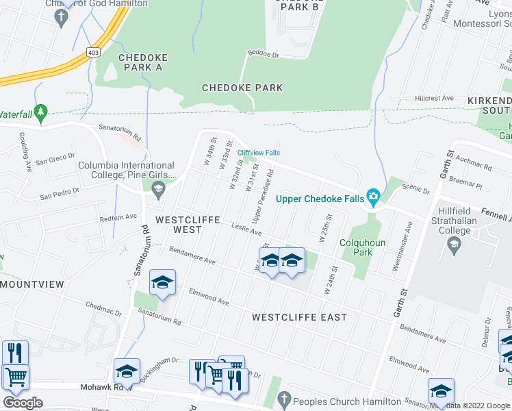 map of restaurants, bars, coffee shops, grocery stores, and more near 124 Upper Paradise Road in Hamilton