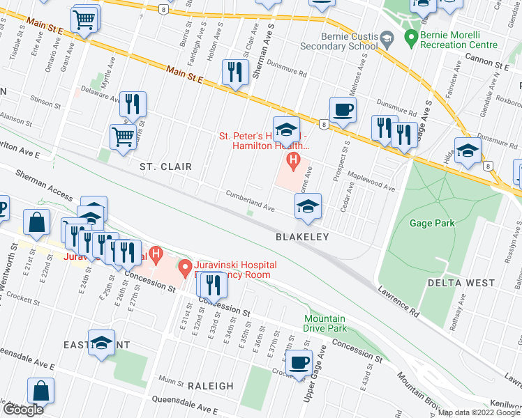 map of restaurants, bars, coffee shops, grocery stores, and more near 312 Cumberland Avenue in Hamilton