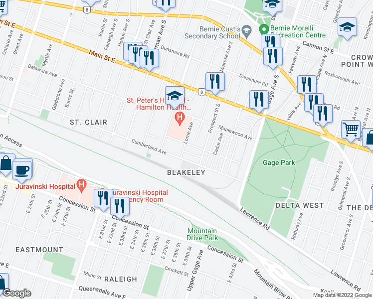 map of restaurants, bars, coffee shops, grocery stores, and more near 38 Gilmour Place in Hamilton