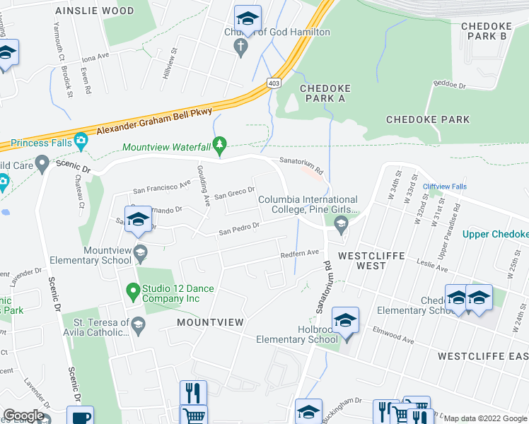 map of restaurants, bars, coffee shops, grocery stores, and more near 12 San Paulo Drive in Hamilton