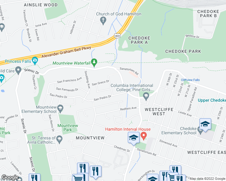 map of restaurants, bars, coffee shops, grocery stores, and more near 16 San Paulo Drive in Hamilton