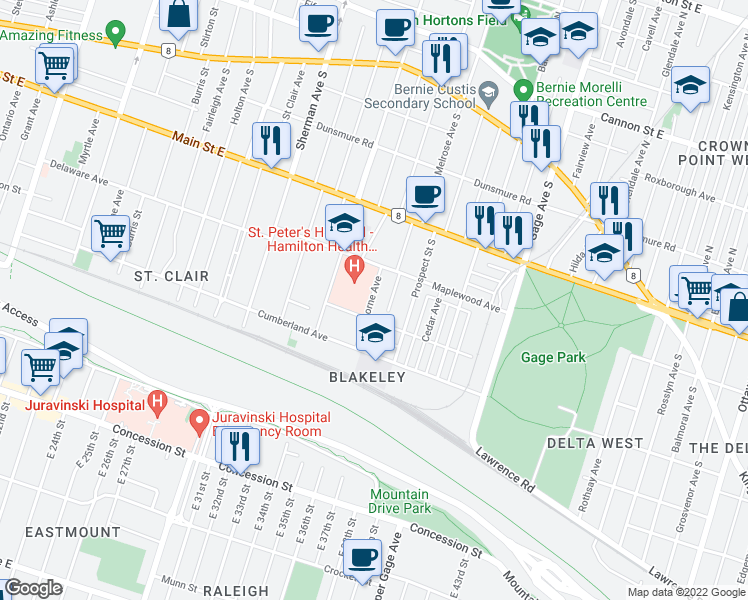 map of restaurants, bars, coffee shops, grocery stores, and more near 37 Lorne Avenue in Hamilton
