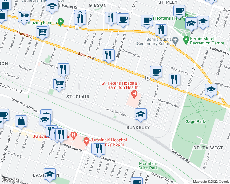 map of restaurants, bars, coffee shops, grocery stores, and more near 76 Blake Street in Hamilton