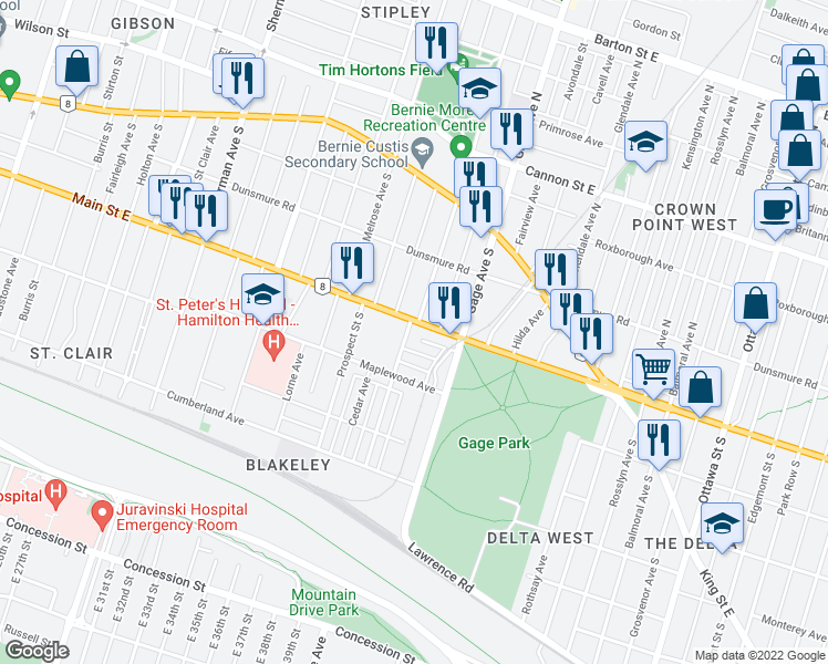 map of restaurants, bars, coffee shops, grocery stores, and more near 117 Balsam Avenue South in Hamilton