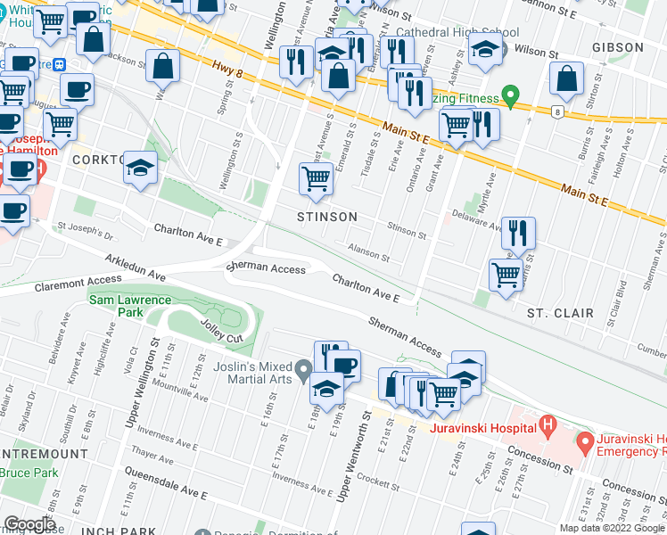 map of restaurants, bars, coffee shops, grocery stores, and more near 455 Charlton Avenue East in Hamilton