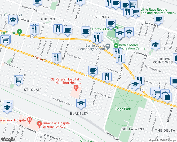map of restaurants, bars, coffee shops, grocery stores, and more near 115 Spadina Avenue in Hamilton