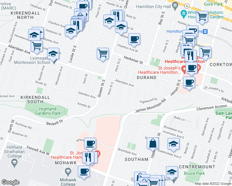 map of restaurants, bars, coffee shops, grocery stores, and more near 26 Ravenscliffe Avenue in Hamilton