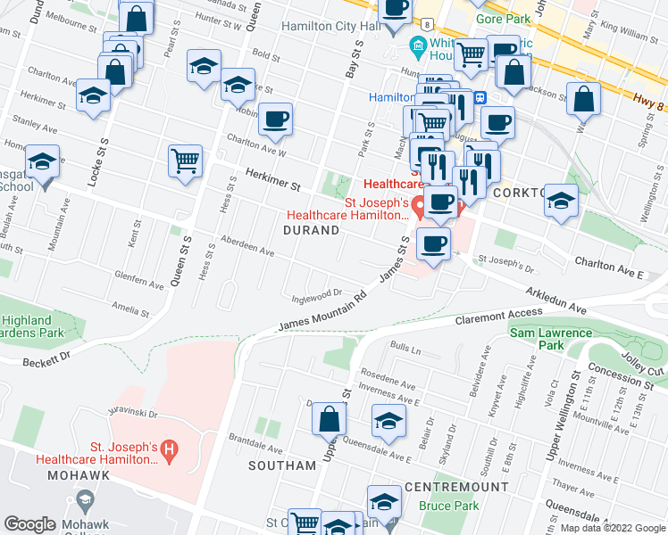 map of restaurants, bars, coffee shops, grocery stores, and more near 48 Aberdeen Avenue in Hamilton