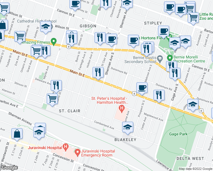 map of restaurants, bars, coffee shops, grocery stores, and more near 108 Garfield Avenue South in Hamilton