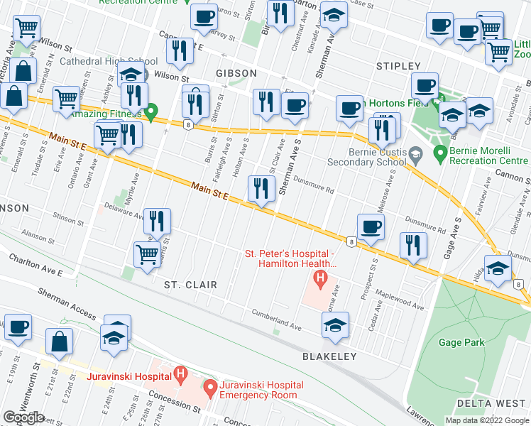 map of restaurants, bars, coffee shops, grocery stores, and more near 724 Main Street East in Hamilton