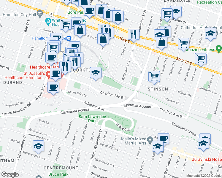 map of restaurants, bars, coffee shops, grocery stores, and more near 73 Aurora Street in Hamilton