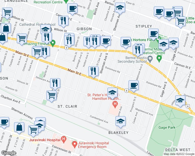 map of restaurants, bars, coffee shops, grocery stores, and more near 715 Main Street East in Hamilton