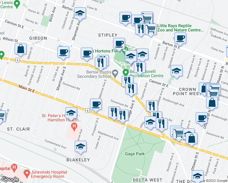 map of restaurants, bars, coffee shops, grocery stores, and more near 32 Leinster Avenue South in Hamilton
