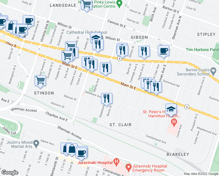 map of restaurants, bars, coffee shops, grocery stores, and more near 30 Gladstone Avenue in Hamilton