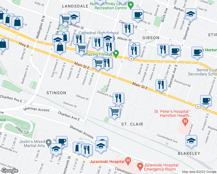 map of restaurants, bars, coffee shops, grocery stores, and more near 39 Myrtle Avenue in Hamilton