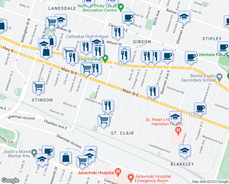 map of restaurants, bars, coffee shops, grocery stores, and more near 17 Gladstone Avenue in Hamilton