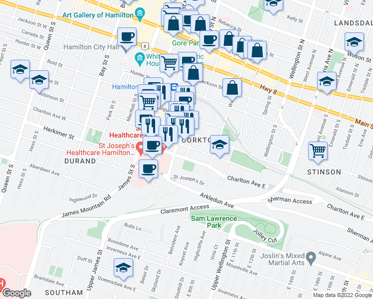 map of restaurants, bars, coffee shops, grocery stores, and more near 100 Forest Avenue in Hamilton