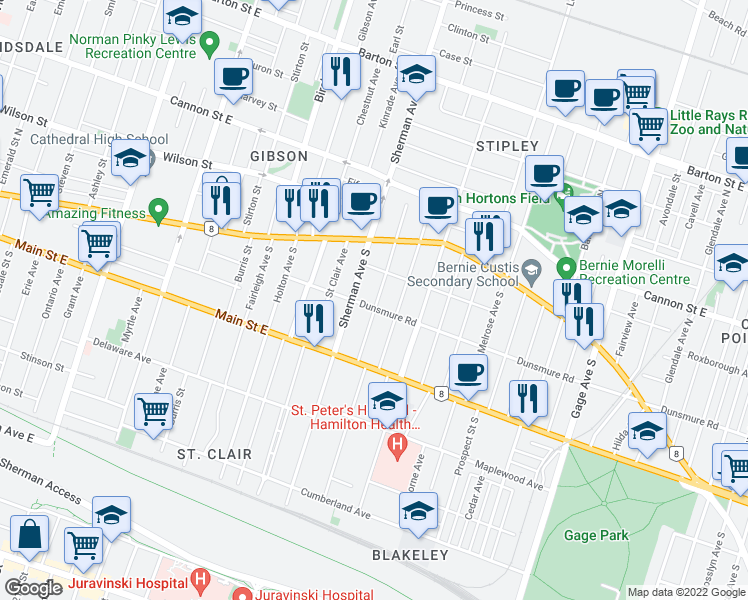 map of restaurants, bars, coffee shops, grocery stores, and more near 62 Garfield Avenue South in Hamilton