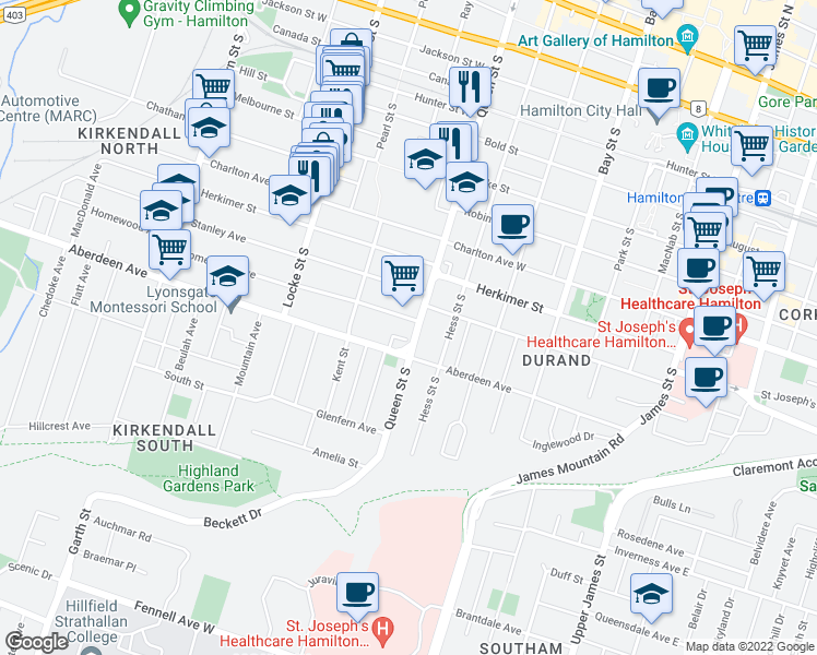 map of restaurants, bars, coffee shops, grocery stores, and more near 319 Queen Street South in Hamilton