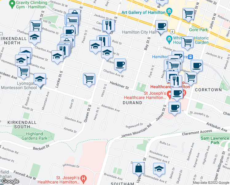 map of restaurants, bars, coffee shops, grocery stores, and more near 143 Markland Street in Hamilton