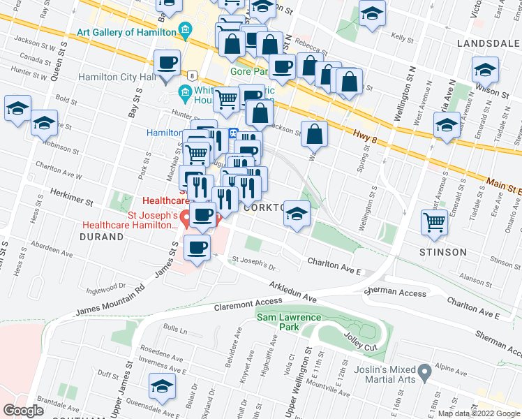 map of restaurants, bars, coffee shops, grocery stores, and more near 175 Catharine Street South in Hamilton