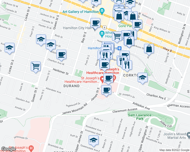 map of restaurants, bars, coffee shops, grocery stores, and more near 223 MacNab Street South in Hamilton