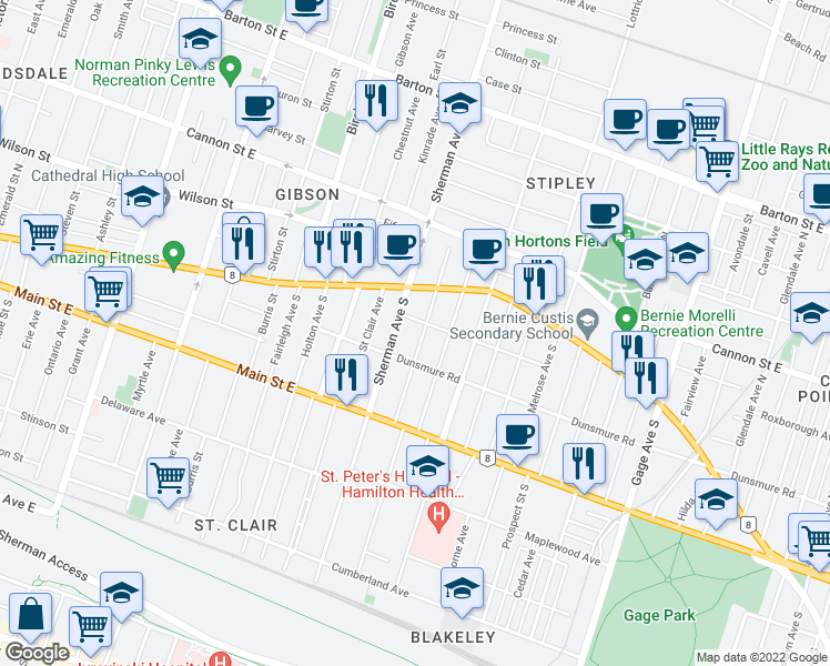 map of restaurants, bars, coffee shops, grocery stores, and more near 40 Garfield Avenue South in Hamilton