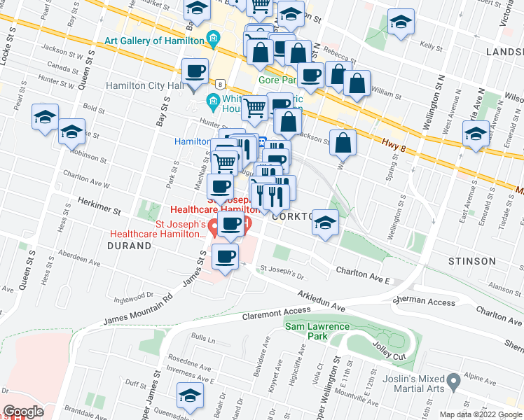 map of restaurants, bars, coffee shops, grocery stores, and more near 57 Forest Avenue in Hamilton