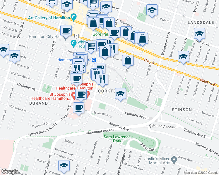 map of restaurants, bars, coffee shops, grocery stores, and more near 103 Young Street in Hamilton