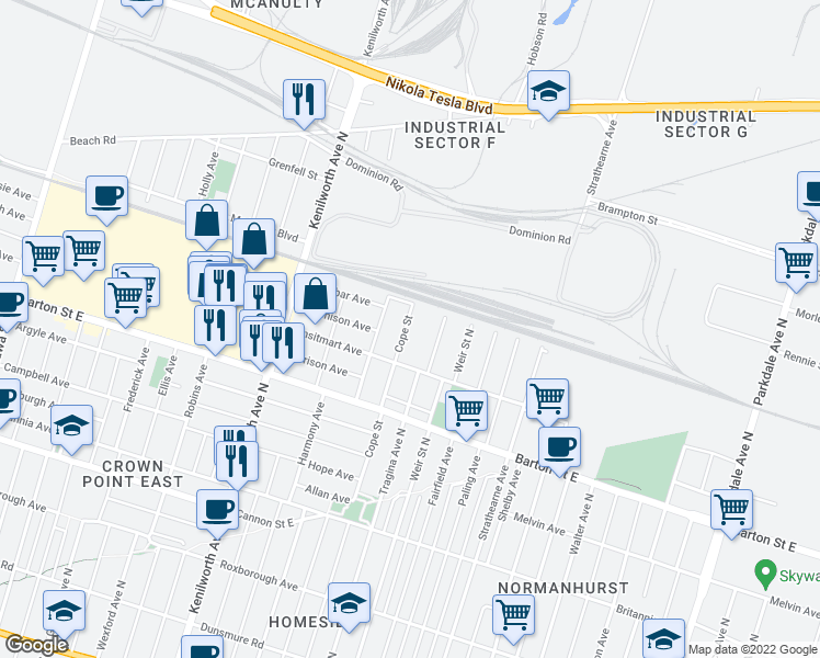 map of restaurants, bars, coffee shops, grocery stores, and more near 392 Cope Street in Hamilton