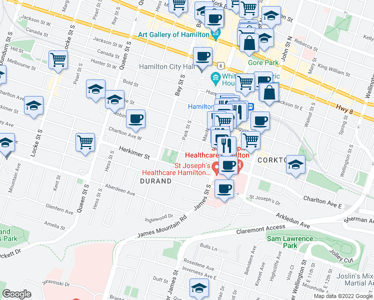 map of restaurants, bars, coffee shops, grocery stores, and more near 202-248 Park Street South in Hamilton