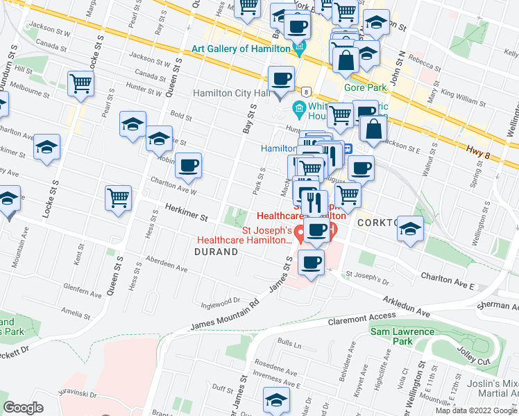 map of restaurants, bars, coffee shops, grocery stores, and more near 64 Charlton Avenue West in Hamilton