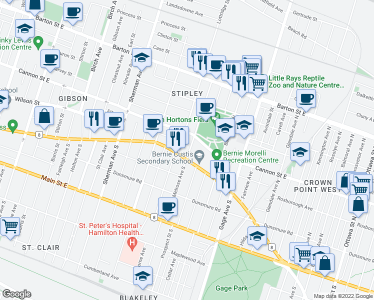 map of restaurants, bars, coffee shops, grocery stores, and more near 15 Melrose Avenue North in Hamilton