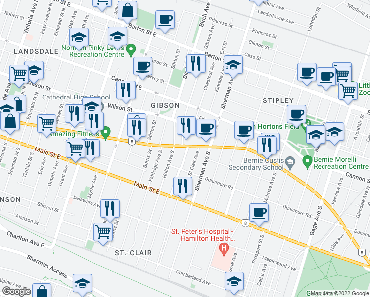 map of restaurants, bars, coffee shops, grocery stores, and more near 850 King Street East in Hamilton