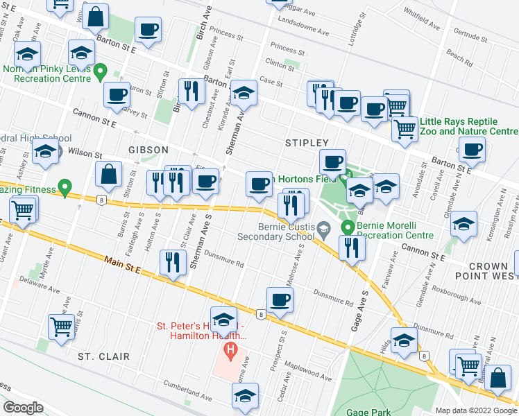 map of restaurants, bars, coffee shops, grocery stores, and more near 970 King Street East in Hamilton