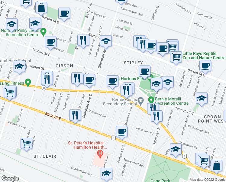 map of restaurants, bars, coffee shops, grocery stores, and more near 977 King Street East in Hamilton