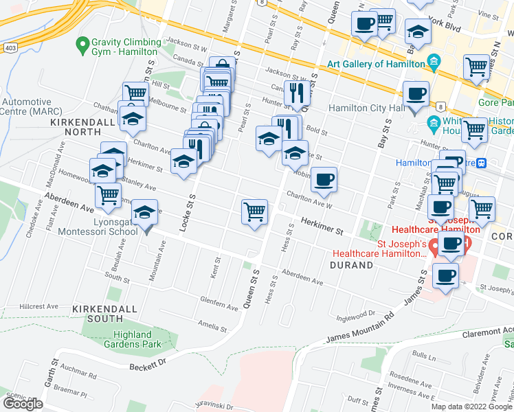 map of restaurants, bars, coffee shops, grocery stores, and more near 201 Herkimer Street in Hamilton