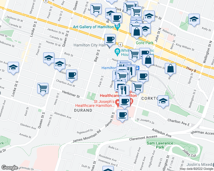 map of restaurants, bars, coffee shops, grocery stores, and more near 33 Robinson Street in Hamilton