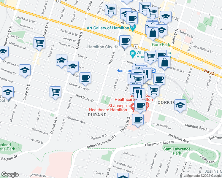 map of restaurants, bars, coffee shops, grocery stores, and more near 225 Park Street South in Hamilton