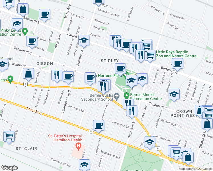 map of restaurants, bars, coffee shops, grocery stores, and more near 21 Lottridge Street in Hamilton